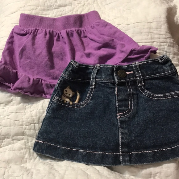 Gymboree Other - Lot of 2 Skirts Blue Jean and Purple Cotton 6-12M